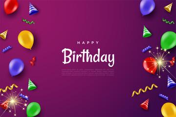 Fototapeta Happy birthday background with cake and hat. obraz