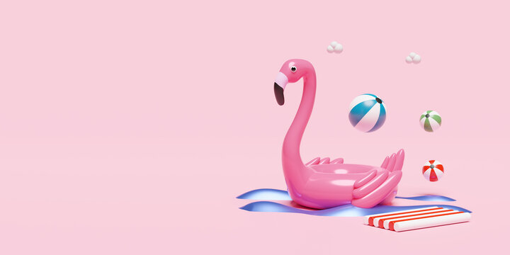 Inflatable flamingo with beach ball and rubber raft and copy space isolated on pink background. concept 3d illustration or 3d render