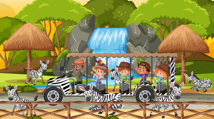 Safari at sunset scene with kids watching zebra group