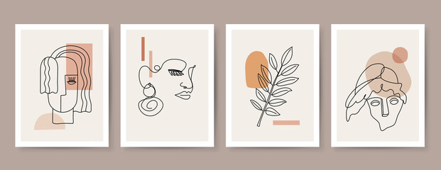 Obraz Collection of  abstract minimalist lines posters. Mid century modern design for prints, poster, cover and wallpaper. - fototapety do salonu
