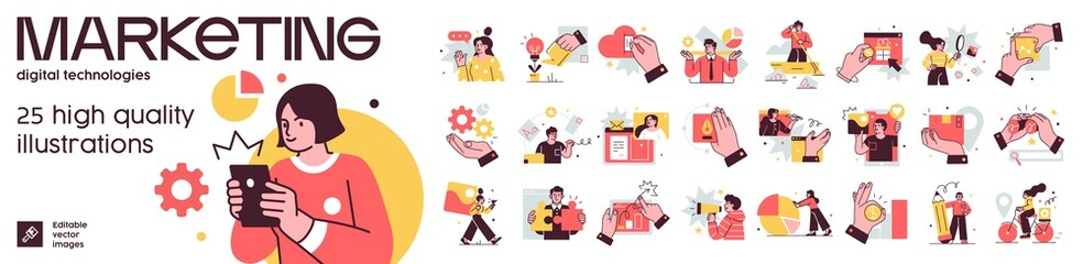 Fototapeta Social Media Marketing illustrations. Mega set. Collection of scenes with men and women taking part in business activities. Trendy vector style obraz