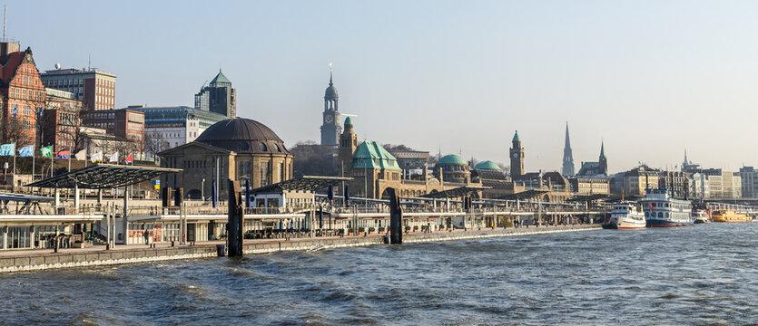 Panorama shot of the famous St. Pauli Landungsbrücken waterfront in Hamburg, Germany