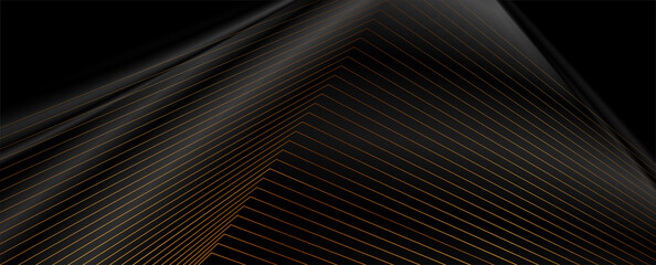 Black abstract tech luxury smooth background with golden lines. Vector banner design