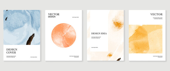 Obraz Creative cover design vector set. Watercolor book cover design, Abstract art design with colorful watercolor background. Can be use for poster, wall arts, magazine,  brochure , banner and website. - fototapety do salonu