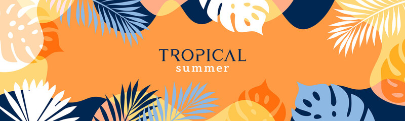 Fototapeta Summer background with tropical leaves and plants in orange, yellow and deep blue colors. Modern minimalist style. Design template for sale, horizontal poster, header, cover, social media, fashion ads obraz