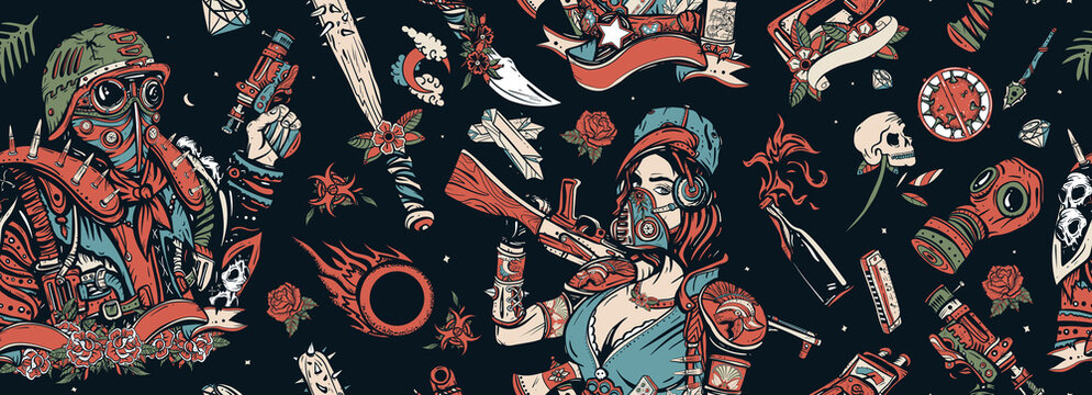 Post apocalyptic man warrior, soldier woman. People, weapon of dark future. Post apocalypse seamless pattern. Nuclear war background. Doomsday girl and gun, end of world