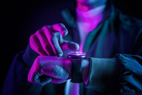 Futuristic hologram smartwatch wearable technology