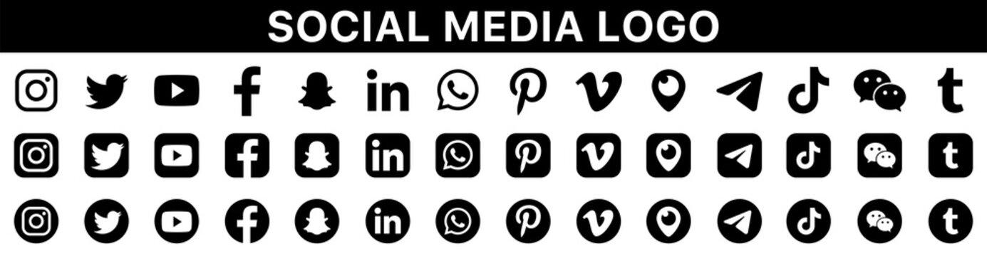 Social media logotype set. Facebook instagram twitter youtube snapchat whatsap pinterest linkedin vimeo tiktok periscope logo set. Social network icons vector