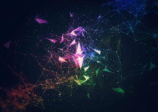 宇宙空間に光輝く抽象的な星