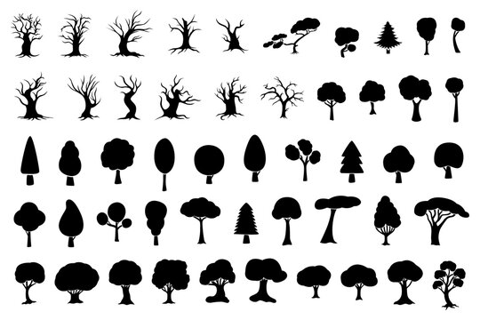 A large set of silhouettes of different trees.