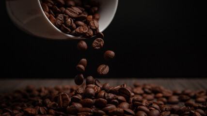 The Coffee beans saturated color picture beautiful background