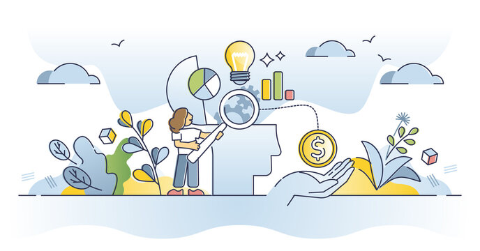 Consumer behavior research and client thinking prediction outline concept. Marketing strategy to increase product purchase decision vector illustration. Advertising based on psychological engagement.