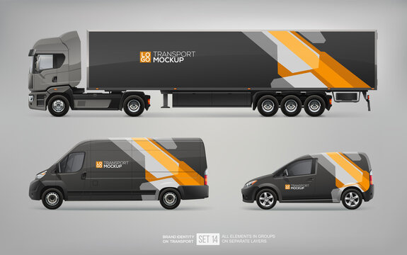 Mockup Set of Black Truck Trailer, Cargo Van, Delivery Car vector template. Abstract black and yellow graphics design for transport Brand identity and Advertising. Set of delivery service Transport
