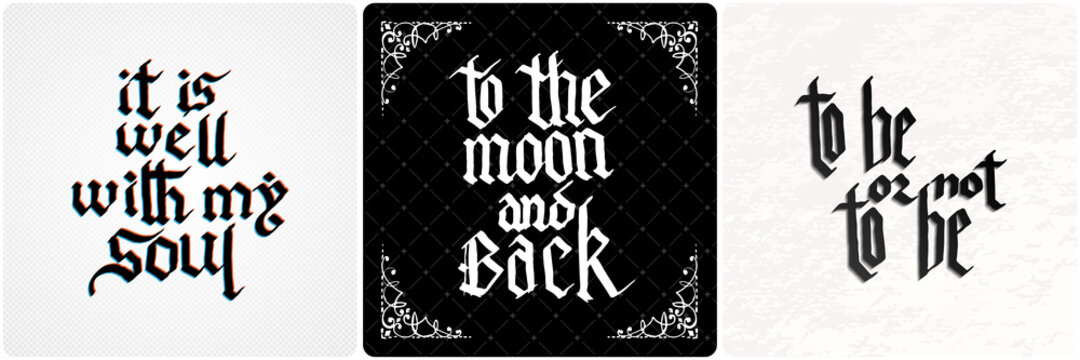 Vintage lettering collection. Gothic blackletter text. Vector clligraphic illustration set