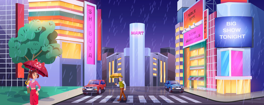 Rain in night city. Pedestrians with umbrellas crossing road. People at crosswalk with cars. Cartoon street illuminated showcases lights in wet, rainy weather. Cityscape with glowing windows of shops.