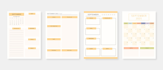 Obraz September 2021 - Planner. Modern planner template set. Set of planner and to do list. Monthly, weekly, daily planner template. Vector illustration. - fototapety do salonu