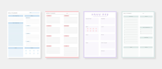 Obraz Modern planner template set. Set of planner and to do list. Monthly, weekly, daily planner template. Vector illustration. - fototapety do salonu