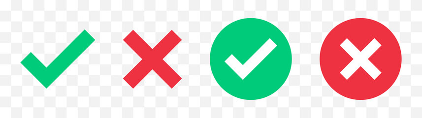 Obraz Green check mark, red cross mark icon set. Isolated tick symbols, checklist signs, approval badge. Flat and modern checkmark design, vector illustration. - fototapety do salonu