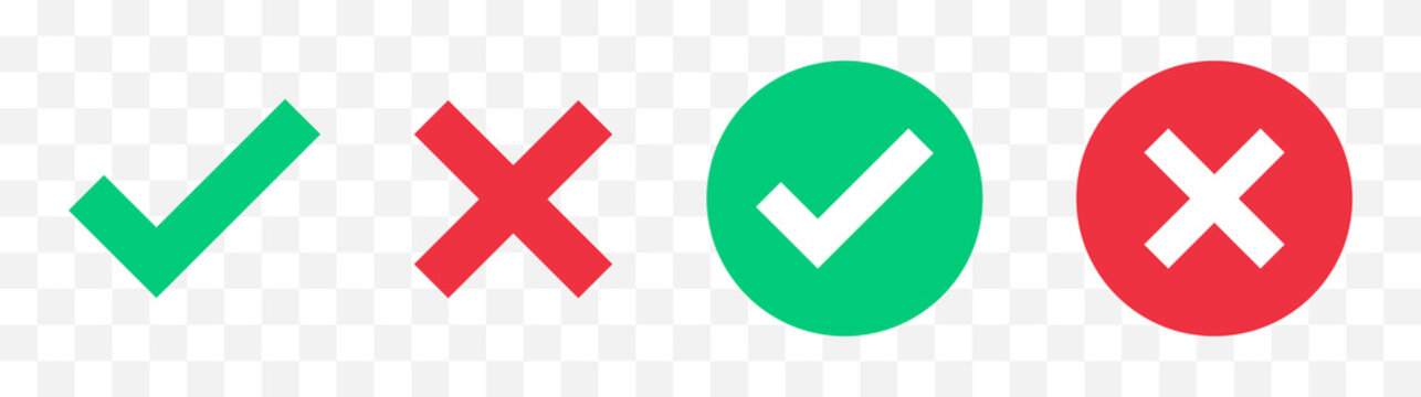 Green check mark, red cross mark icon set. Isolated tick symbols, checklist signs, approval badge. Flat and modern checkmark design, vector illustration.