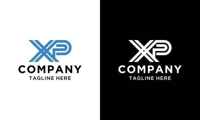 Obraz X P Letter Logo Design in Blue Colors. Creative Modern Letters Vector Icon Logo Illustration. - fototapety do salonu