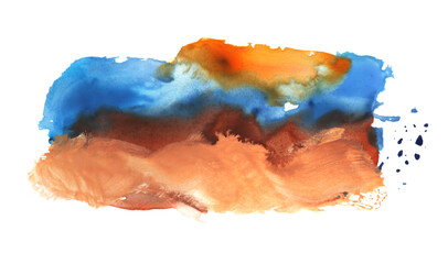 Art Abstract watercolor and acrylic flow blot painting on white. Color horizontal canvas texture background.
