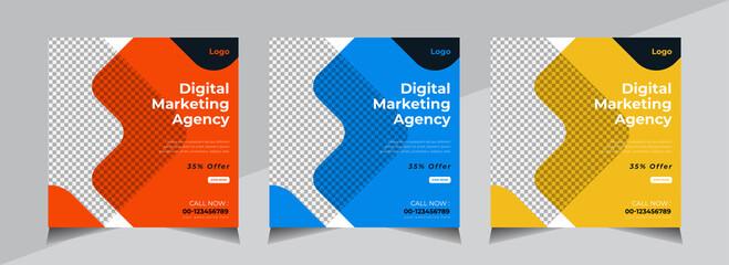 Obraz Creative Social Media Banner Design, Business Social Media Post Template, Web Banner, Orange, Blue, Yellow Color - fototapety do salonu