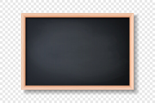 Vector 3d Realistic Blank Black Chalkboard, Wooden Frame Closeup Isolated on Transparent Background. Chalkboard Design Template, Mockup. Empty Blackboard for Classroom, Restaurant Menu. Front View