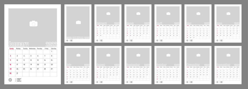 Wall Monthly Photo Calendar 2022. Simple monthly vertical photo calendar Layout for 2022 year in English. Cover Calendar, 12 monthes templates. Week starts from Sunday. Vector illustration