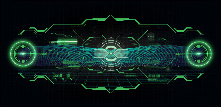 Futuristic helmet or cockpit view in HUD, FUI style. Luminous visual display of vehicle technology. Future virtual sight, dashboard, view frame Futuristic game interface. Virtual Reality Technology