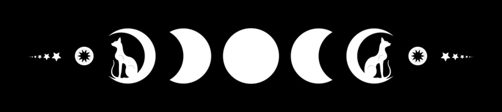 Triple moon and black cats, pagan Wiccan goddess symbol, moon phases, white silhouette wicca banner sign, energy circle. Sacred geometry of the wheel of the year, vector isolated on black background