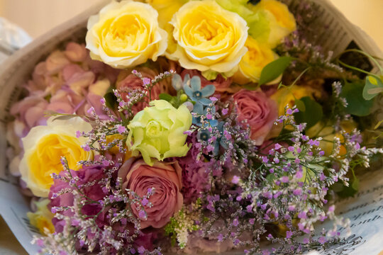 Photographing a colorful bouquet from above