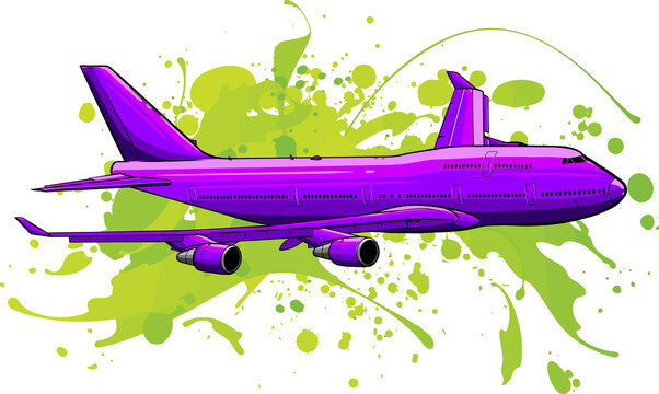 vector illustration art of colored Airplane flying
