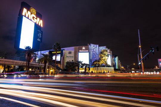 Las Vegas Strip and MGM Grand Casino at night - Las Vegas, Nevada, USA