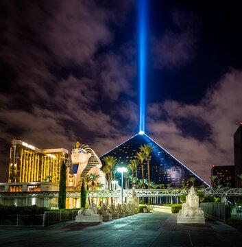 Luxor Hotel and Sky Beam at night - Las Vegas, Nevada, USA