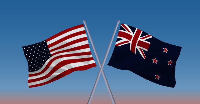 アメリカとニュージーランドの国旗