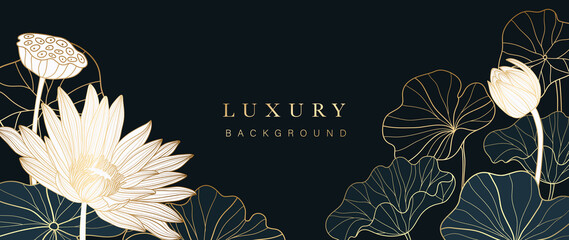Obraz Luxury gold lotus background vector. Zen wallpaper collection with golden lotus line art. Design for yoga banner, Luxury cover design and invitation, invite, banner, Natural product packaging design. - fototapety do salonu