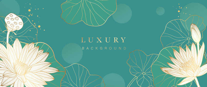 Luxury gold lotus background vector. Zen wallpaper collection with golden lotus line art. Design for yoga banner, Luxury cover design and invitation, invite, banner, Natural product packaging design.