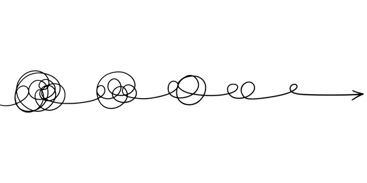 confusion clarity or path vector idea concept. Simplifying the complex . Doodle vector illustration .