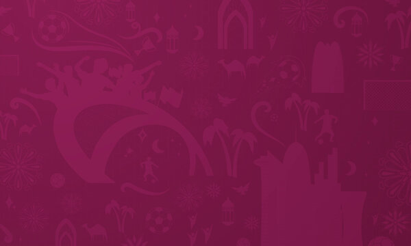Football Pattern Background for banner, soccer championship 2022 in Qatar