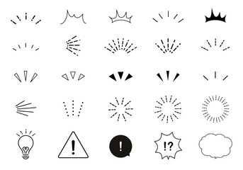 Fototapeta おしゃれなリアクションアイコンのベクターイラストセット(気づく、発見、注目、驚く、太陽) obraz