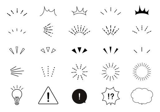 おしゃれなリアクションアイコンのベクターイラストセット(気づく、発見、注目、驚く、太陽)