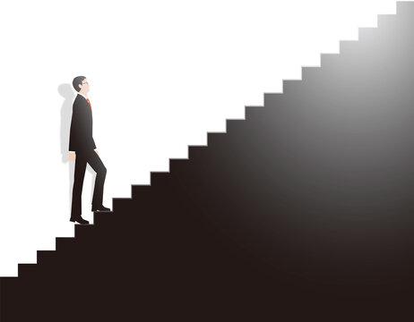 階段を一歩一歩確実に上がるビジネスマン。ベクター素材