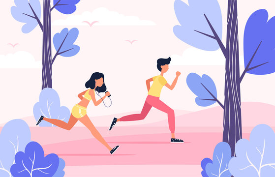 vector illustration. flat character design. couple jogging in the park