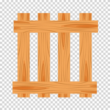 Wood farmer's fence. Wooden plaque and crossed boards isolated on transparent background. Vector illustration