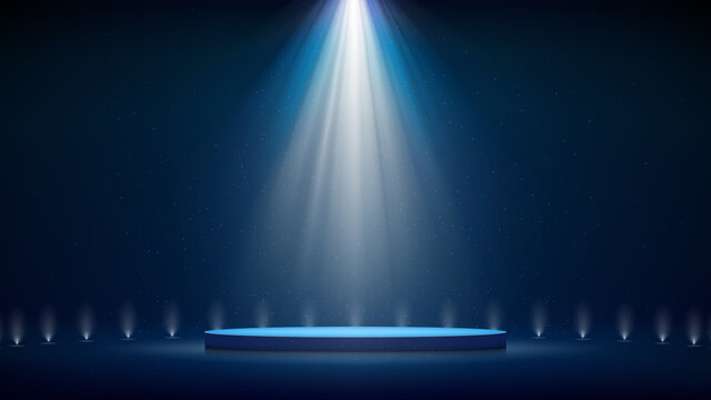 Spotlight backdrop. Illuminated blue stage podium. Background for displaying products. Bright beams of spotlights, shimmering glittering particles, a spot of light. Vector illustration