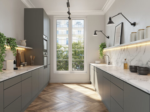 3d render of a Parisian minimalist kitchen with grey cabinets and white marble countertop and wood herringbone wood floor