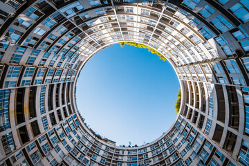 Low angle view of round building in Kunming, Yunnan, China