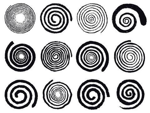 Grunge spirals. Swirling abstract simple rotating spirals, black ink spiral circles isolated vector illustration set. Vortex swirl elements