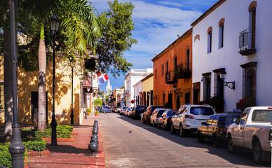 narrow clean streets of the Caribbean tourist mecca Santo Domingo