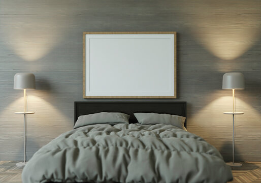 3d Rendering Mockup Home Interior Bed With Decor Elements. Wooden Frame.